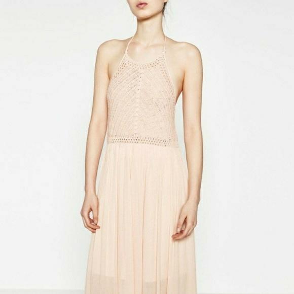 8ec115c4 Zara Dresses | Womens Blush Crochet Halter Maxi Dress L | Poshmark